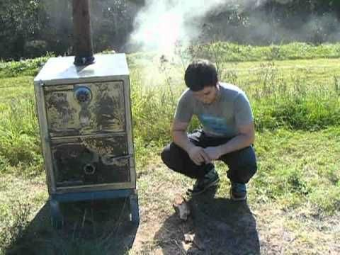 ▶ Homemade Log burning woodstove made from a safe - YouTube
