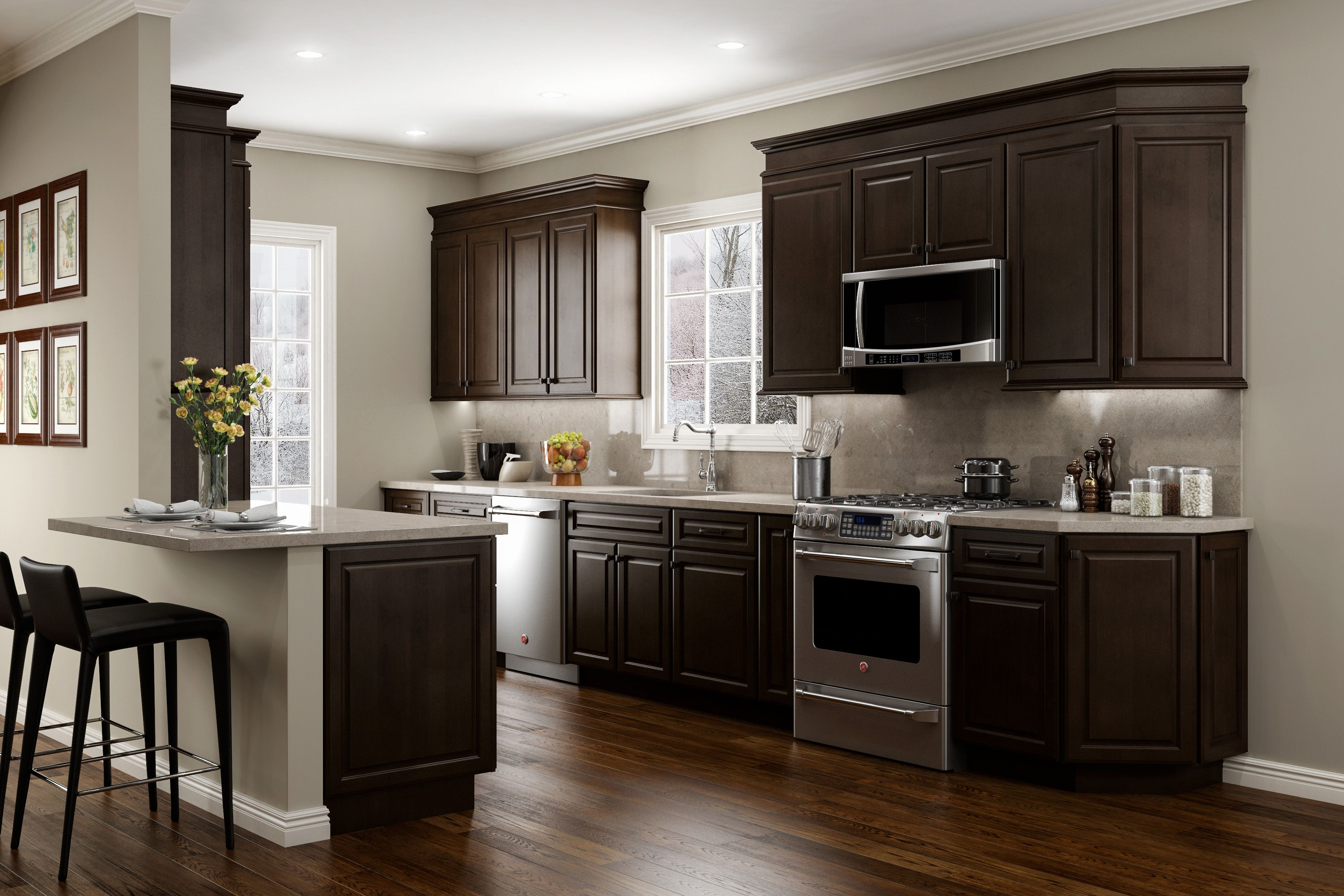 Jsi Cabinetry Quincy Espresso Kitchen Dark Kitchen Cabinets Espresso Kitchen Cabinets Brown Kitchen Cabinets