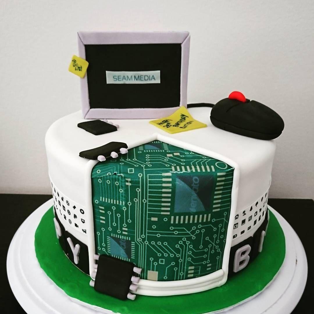 Computer Themed Cake Browniecake Computer Monitor Birthday