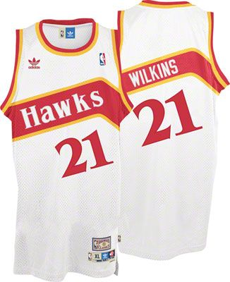 Dominique Wilkins Jersey  adidas White Throwback Swingman  21 Atlanta Hawks  Jersey 057065a87
