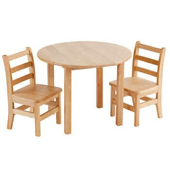 Ecr4kids Round Table And Two Chairs Hardwood Table Table And Chair Sets Ladder Back Chairs