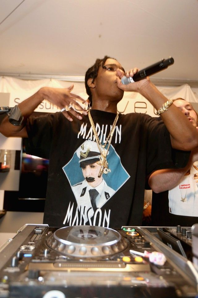 44616a8432ef ASAP Rocky wearing Vintage Marilyn Manson - Mens Officer T-shirt