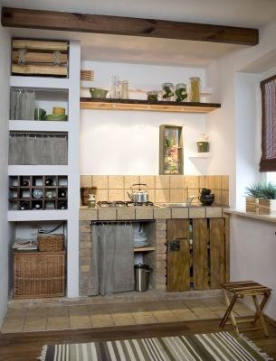 Kuchnia Murowana Z Polkami Gipsowo Kartonowymi Muratordom Pl Brick Kitchen Home Decor Home