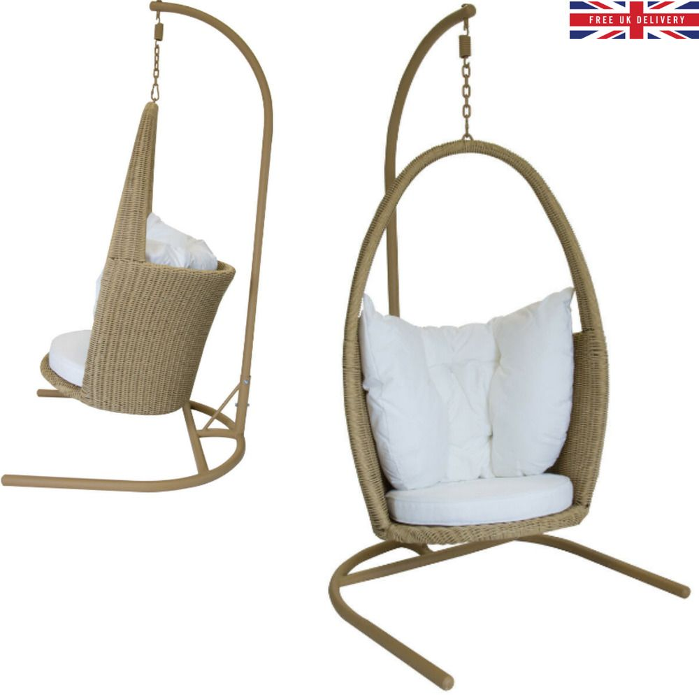 Outdoor Rattan Open Top 1 Person Garden Hanging Chair Egg Cushion Patio Swing Uk Charlesbentleyhangingchair