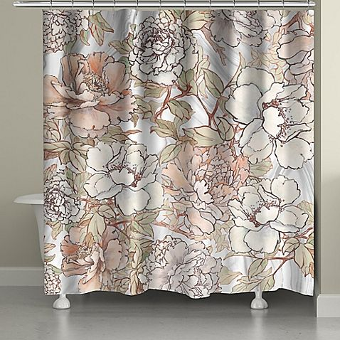 Laural Home Blushing Pale Pink Peonies Shower Curtain Green