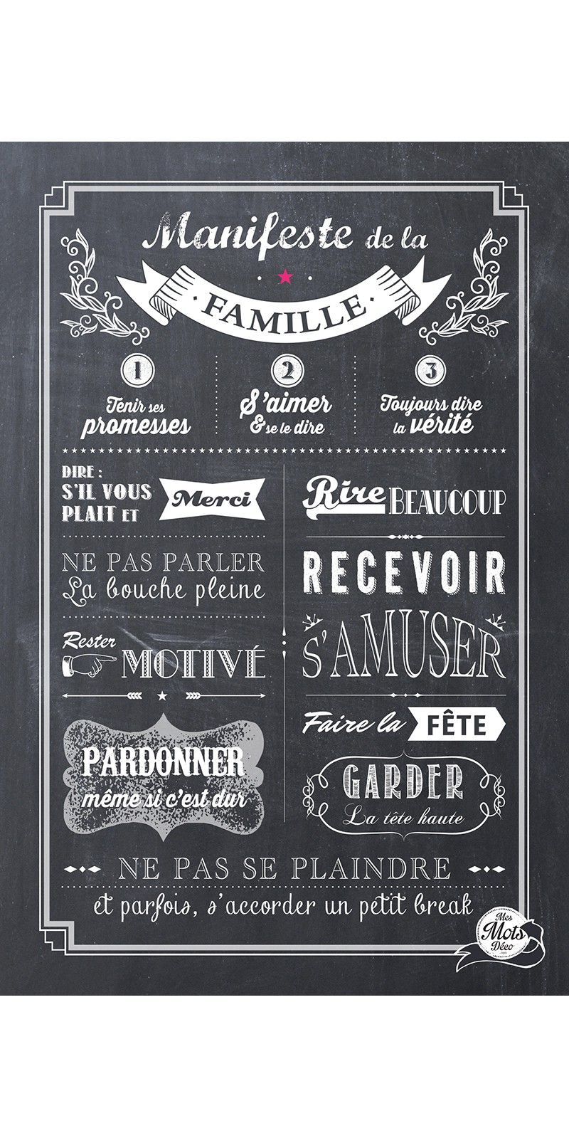 affiche adh sive mes mots d co chalkboard id es pour. Black Bedroom Furniture Sets. Home Design Ideas