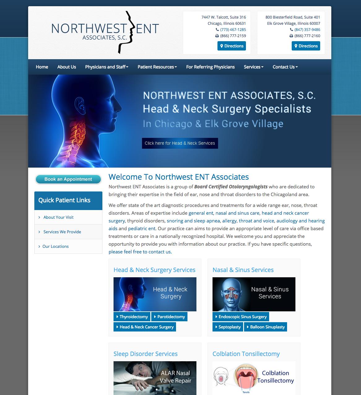 Http Www Entdoctorschicago Com Ent Doctors Chicago Northwest Ent Associates S C Chicago And Elk Grove Vi Medical Website Design Ent Doctor Neck Surgery