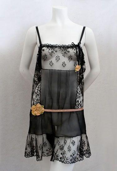 1920s silk chiffon lace teddy