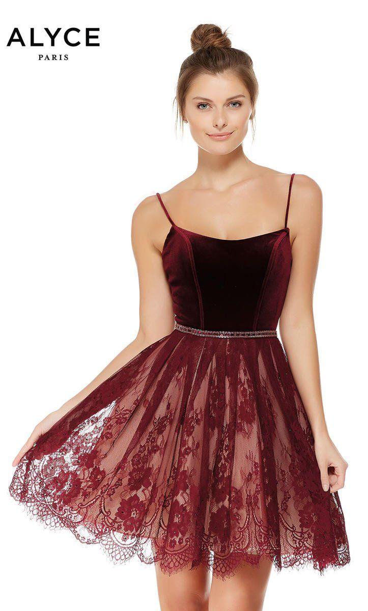 Alyce paris velvet and lace short dress dresses pinterest