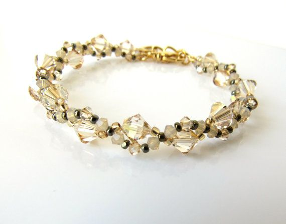 Champagne and Gold Beaded Jewelry Bracelet, Beadwoven, Friendship Bracelet, Swarovski Crystal Jewelry, Christmas Gift Ideas, Gift for Mom