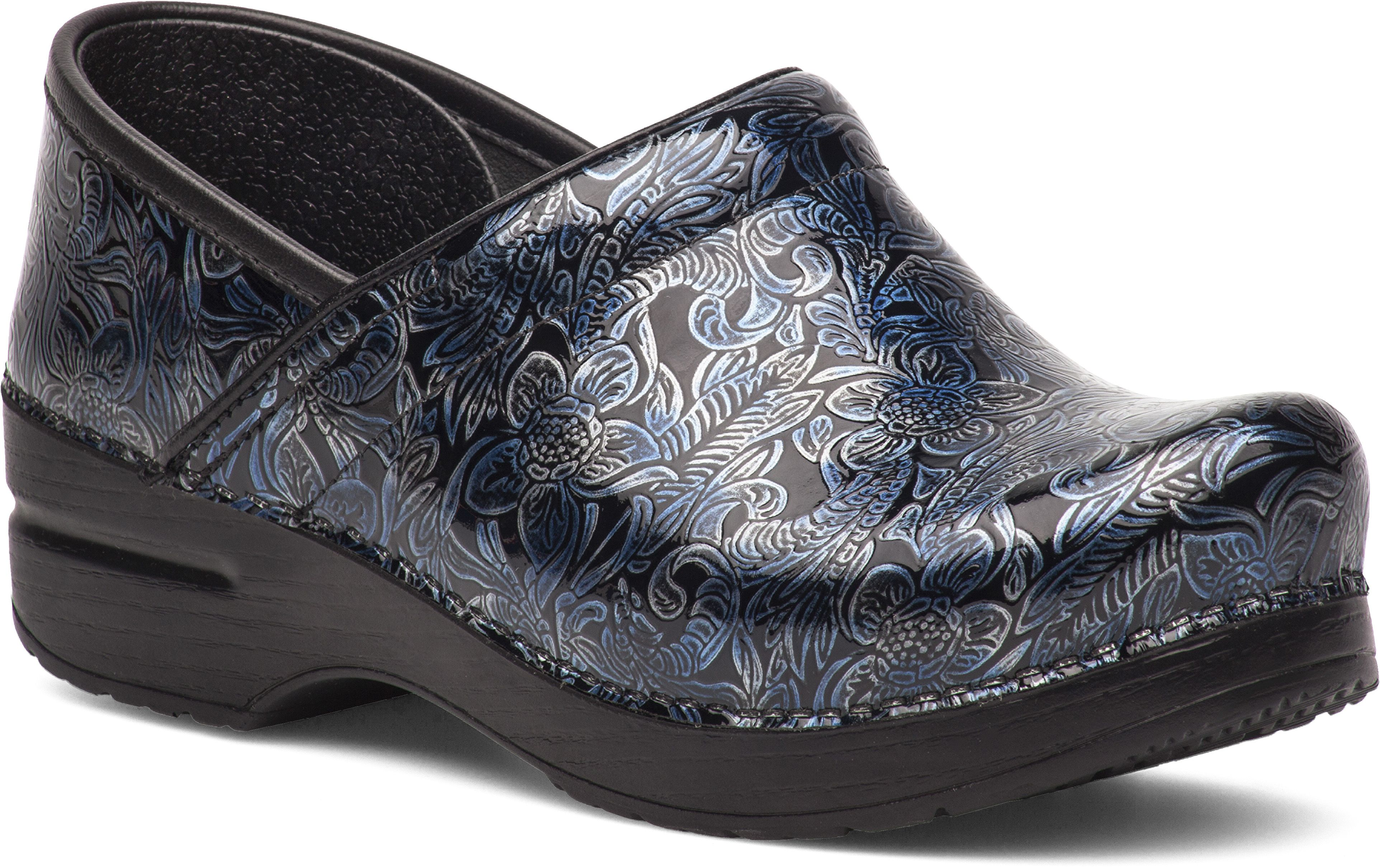 Dansko Womens Professional Clogs in Silver / Blue Tooled Patent Leather