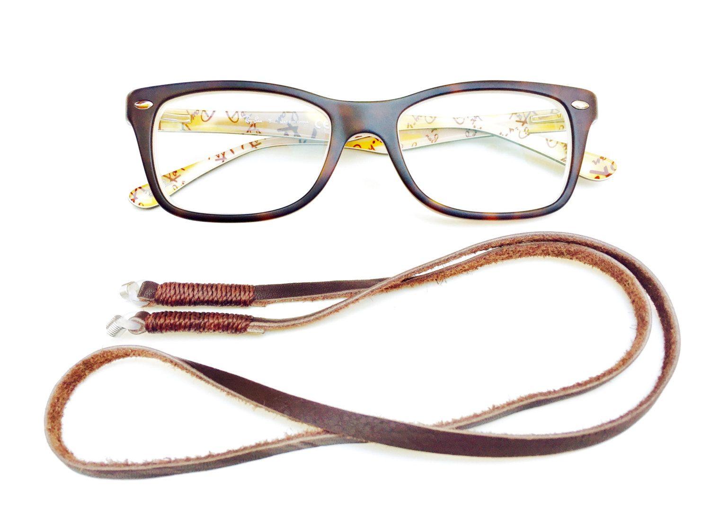 Eyeglass chain, Eyeglass Lanyard, Brown leather cord Eye Glass, Chain for Glasses, Eyeglass Holder, Eyeglass cord, Brown Leather Glass Chain by MariaCruz on Etsy