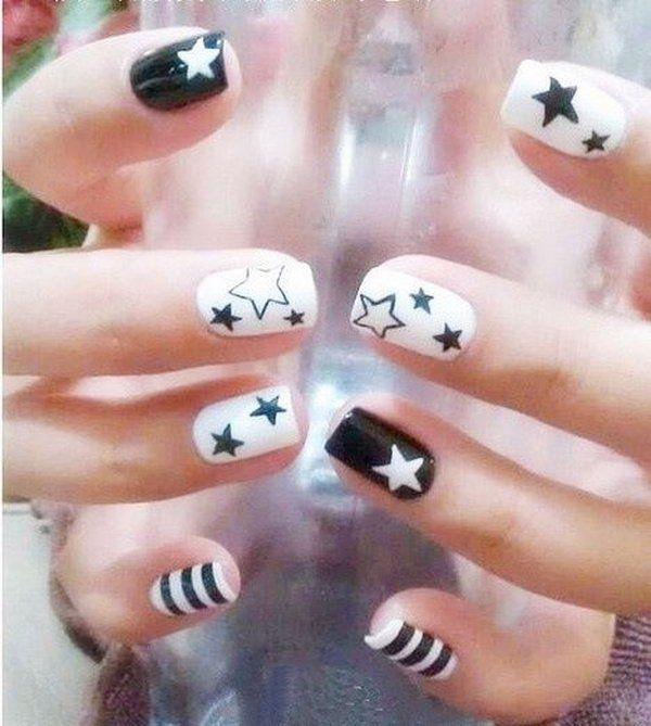 Black and White Star Nail Art. This is all sorts of perfect! I love - Black And White Star Nail Art. This Is All Sorts Of Perfect! I Love