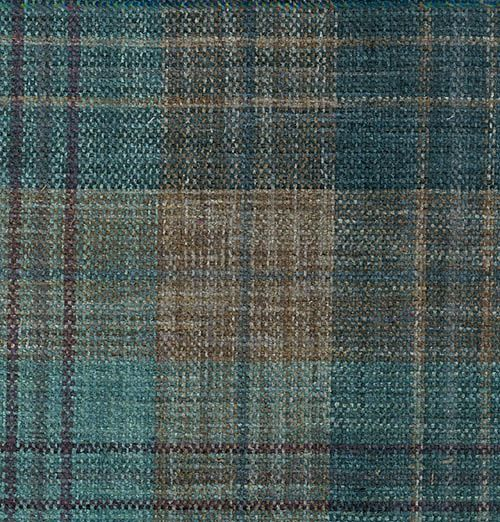 teal and taupe woven chenille plaid fabric designer brand curtain and upholstery fabric availble to buy from our online store