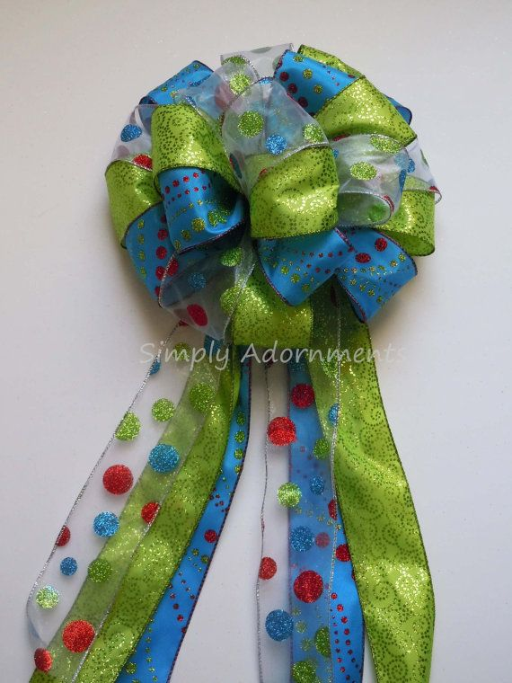 Green Blue Christmas Bow Blue Green Wreath Bow By Simplyadornmentsss On Etsy Christmas Tree Bows Christmas Tree Topper Bow Turquoise Christmas Tree
