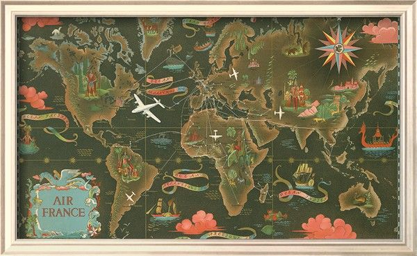 Air France World Map, Flight Routes, c1948 Art Print Stairs - new air france world map flight routes c.1948