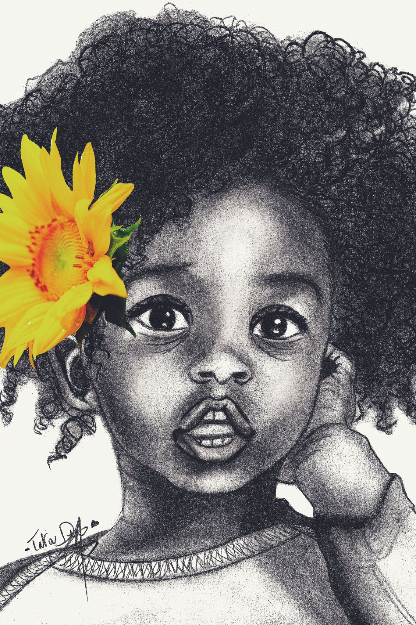 6 Art Coiffure Manom Drawing By Tatoudembele Cute Afro Baby Girl Drawings