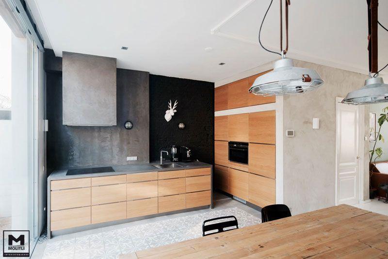 Betonstuc keuken wand en keukenblad voorzien van betonstuc super
