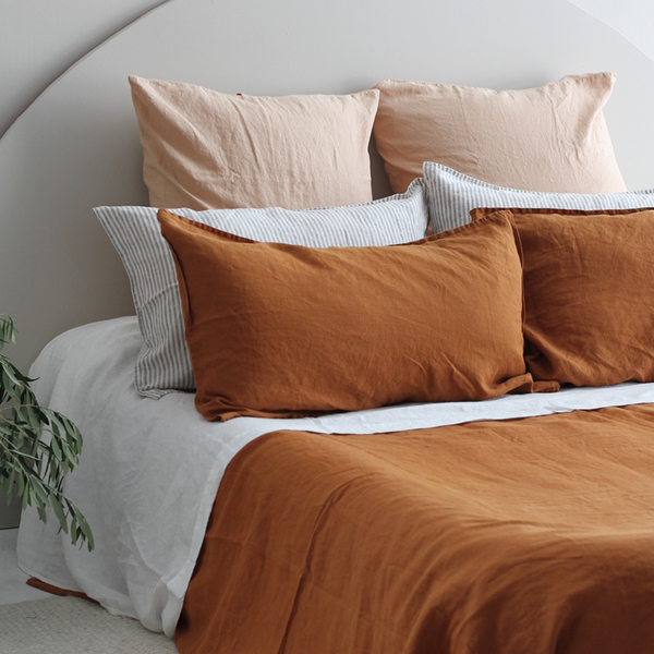 A&C Flax Linen Duvet Cover Terracotta in 2020 White