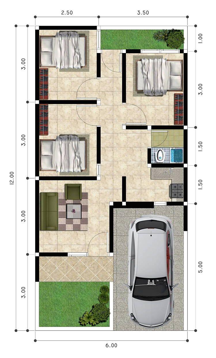 Desain Rumah Lebar 6 Meter Panjang 15 Meter : desain, rumah, lebar, meter, panjang, Inspirasi, Denah, Rumah, Kamar, Rumah,, Minimalis,, Desain