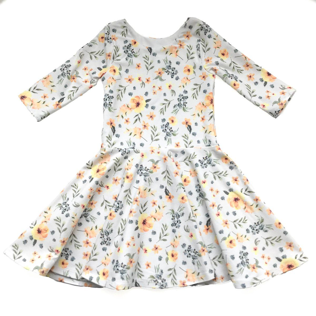 8bfa799671395 This beautiful handmade yellow floral twirl dress is made of a comfy knit  cotton spandex material