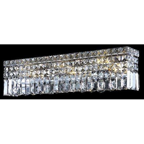 Maxim Chrome Six Light Bath Fixture With Royal Cut Clear Crystal Elegant Lighting Bath Str