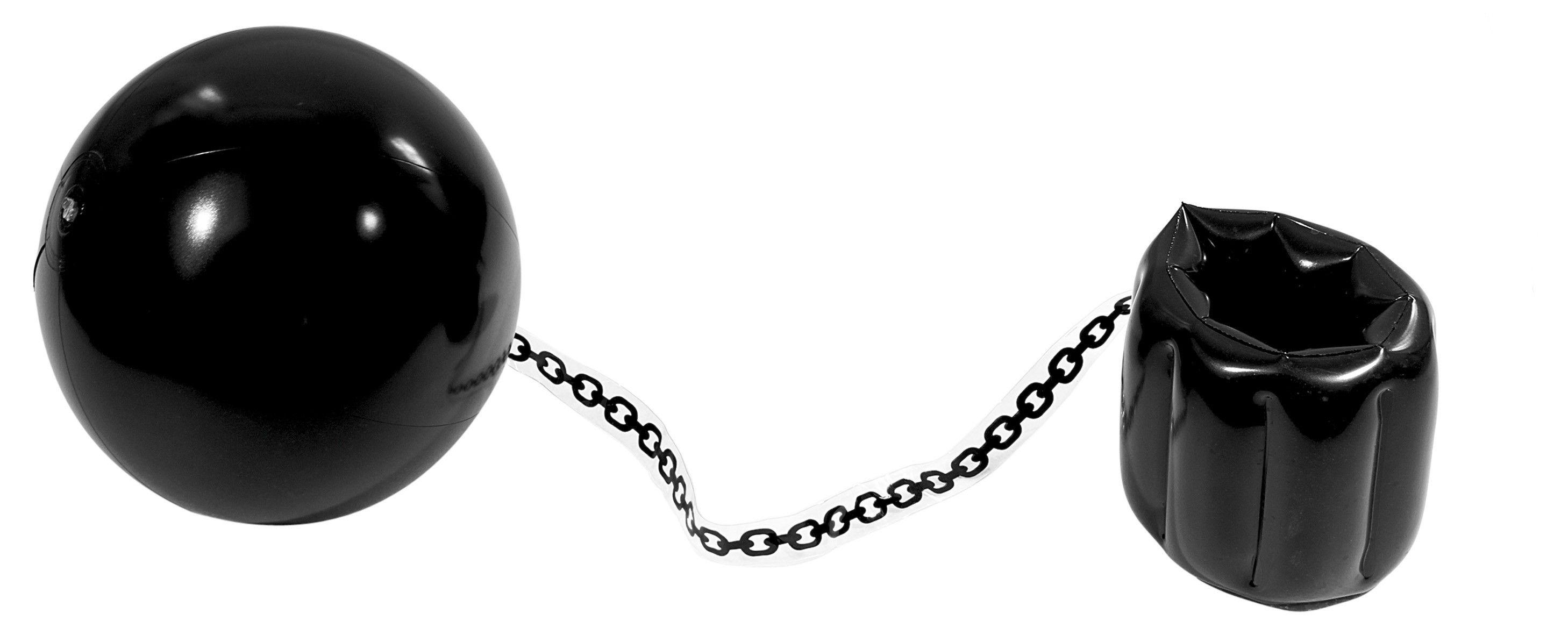 Als je dan eindelijk de boef hebt gevonden kan hij mooi aan de ketting. Helaas zal het de boef niet echt tegen houden, want deze bal aan de een ketting is opblaasbaar.