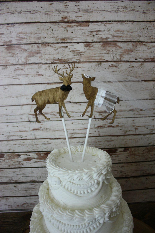Buck and doe bride and groomdeer wedding cake topper