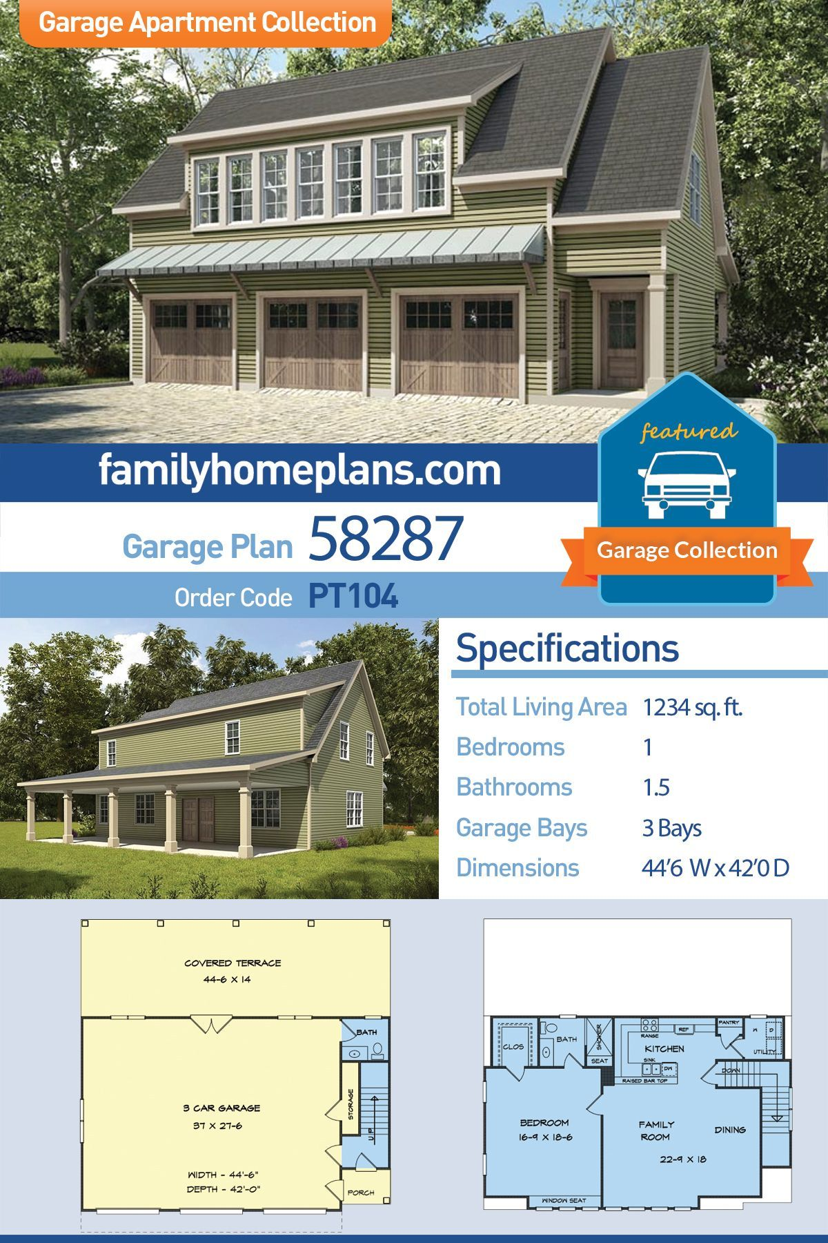 Three Car Garage Apartment Plan With Covered Porch At Family Home