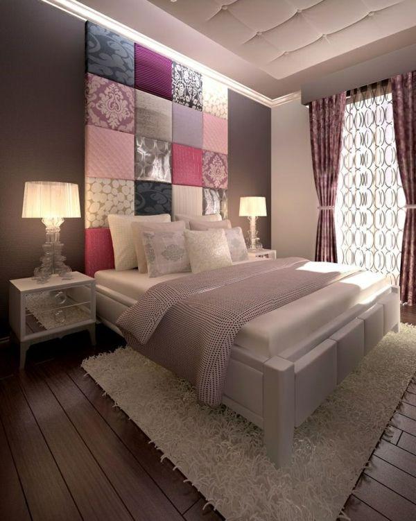 Wohnungsgestaltung Ideen Schlafzimmer Bett Kopfteil Farbig Nachttische
