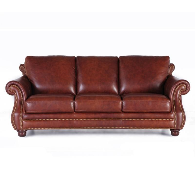 Incredible Futura Leather 7308 Traditional Leather Sofa With Nailhead Dailytribune Chair Design For Home Dailytribuneorg