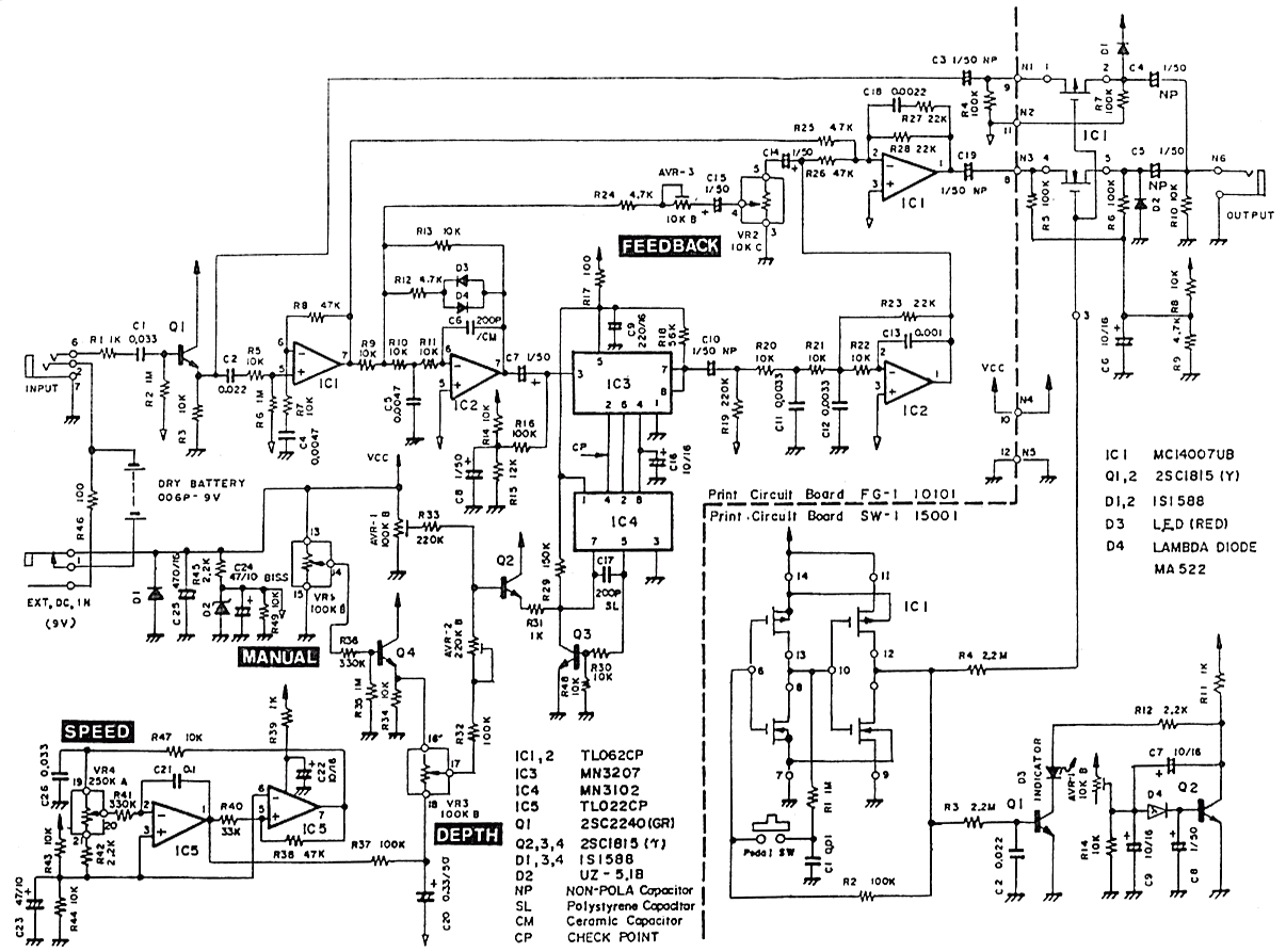 Schematic diagram of Pearl FG-01 Flanger | Amps | Pinterest ...