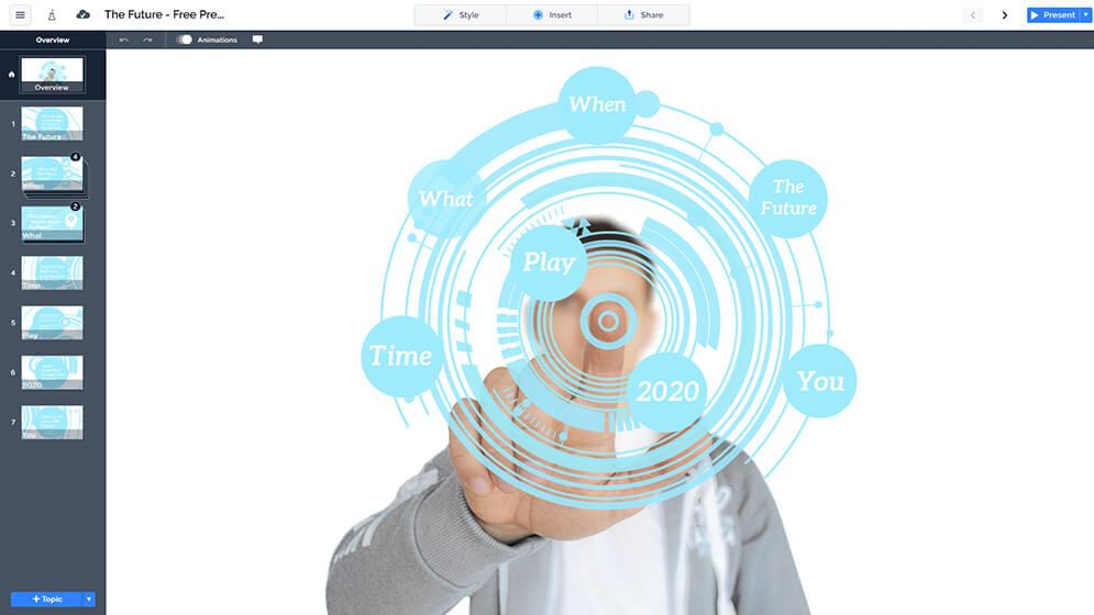 Free 3d Futuristic Circle Technology Prezi Next Presentation