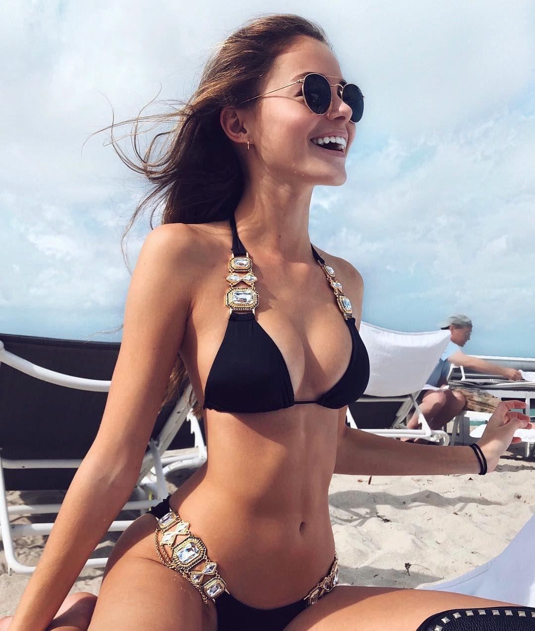 Sexy Petite Brunette Model Daniella Beckerman Nice Cleavage In A Black String Bikini