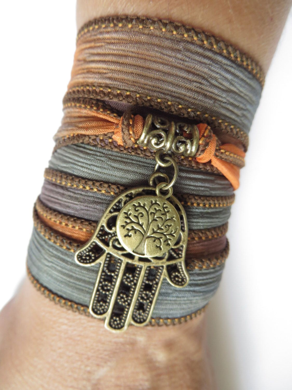 Bohemian Tree Of Life Silk Wrap Bracelet Hamsa Yoga Jewelry Earthy Wrap Bracelet Namaste Yoga Spiritual Arm Ribbon Bracelet, Birthday Gift by HVart on Etsy https://www.etsy.com/listing/160616929/bohemian-tree-of-life-silk-wrap-bracelet