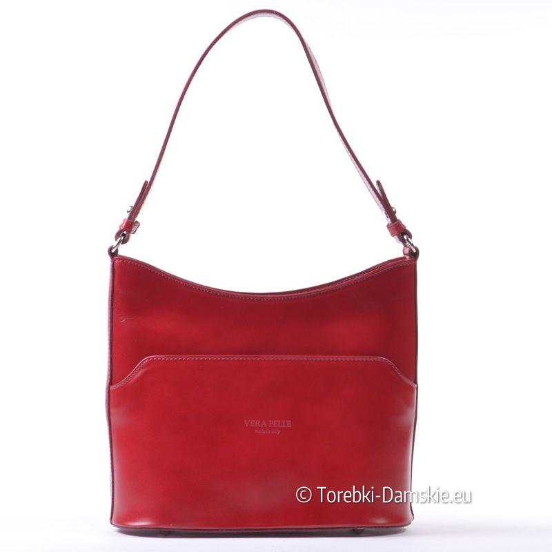 280398bf1d635 Torebka włoska ze skóry naturalnej w kolorze czerwonym. Średnia ...