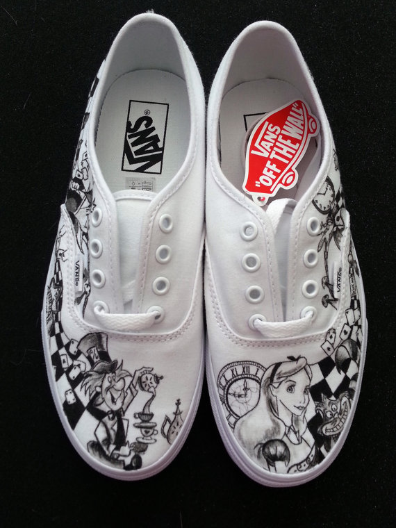 626f163320d4e6 WRAPAROUND ARTWORK Disney s Alice in Wonderland Custom Made Shoes Artwork  and Shoes (ie. Vans