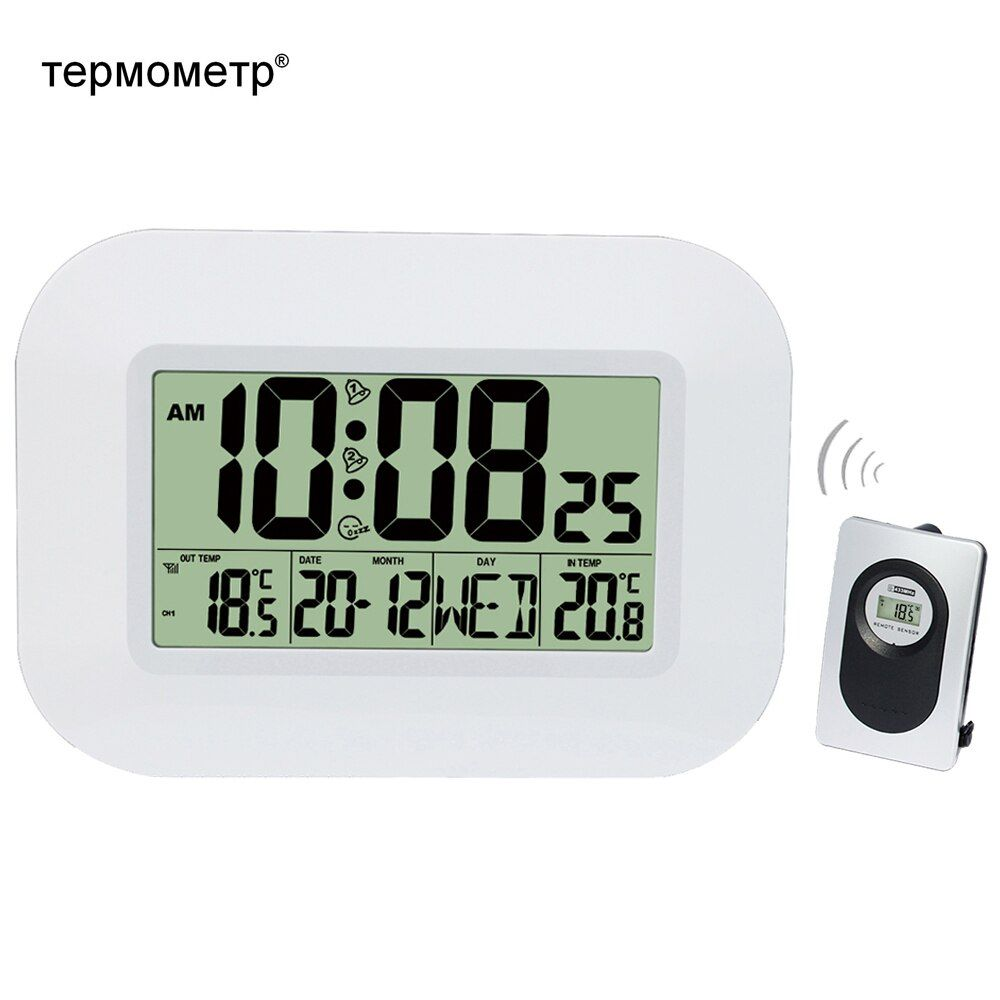 Big Lcd Digital Wall Clock Thermometer Indoor W Outdoor Temperature Transmitter Radio Controlled Alarm Clock Rcc Table Calendar Clock Alarm Clock Digital Wall