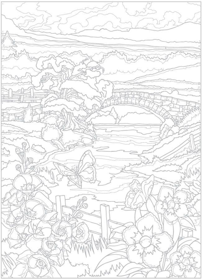 Creative Haven Country Scenes Color By Number Coloring Book 4 Sample Pages Malen Nach Zahlen Vorlagen Malen Nach Zahlen Ausmalbilder