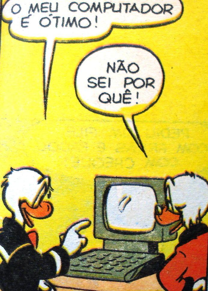 Pato Donald mostra seu computador ao Tio Patinhas, ilustração de Walt Disney