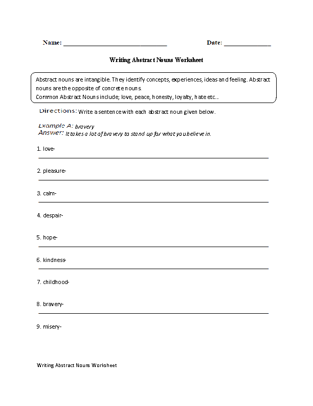 Writing with Abstract Nouns Worksheet abstract nouns – Abstract and Concrete Nouns Worksheets