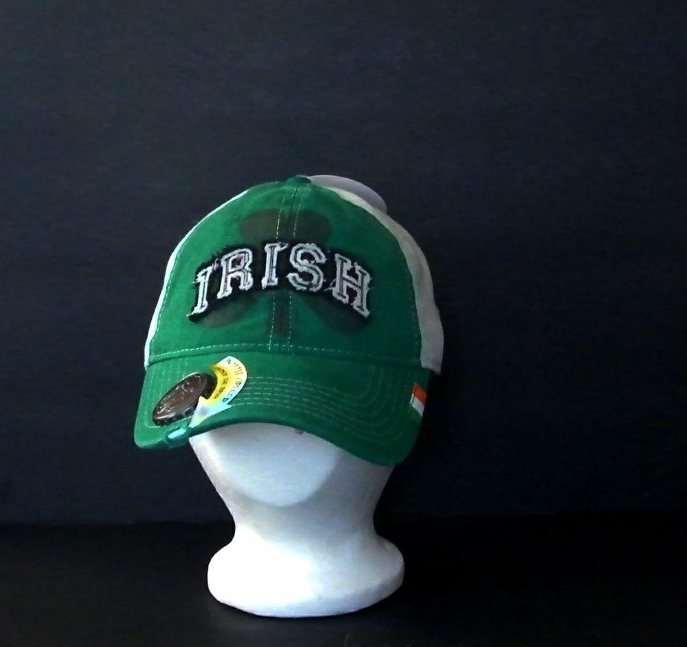 f764e53598d61 Irish Shamrock Baseball Cap with Bottle Opener. Embellishments  Metal Cap  on top of brim