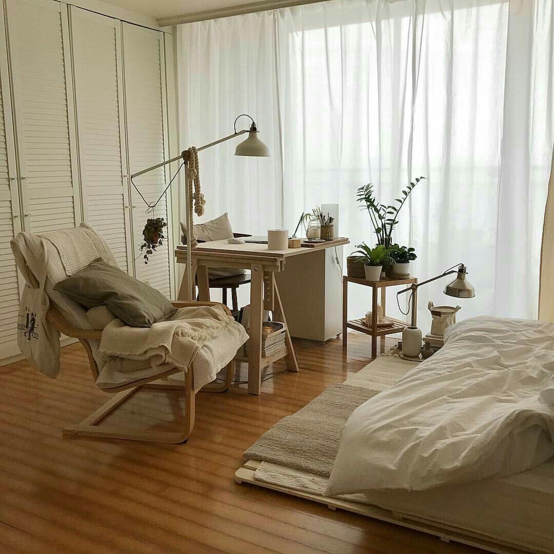 bedroom  light wooden white aestjetic warm  cozy soft