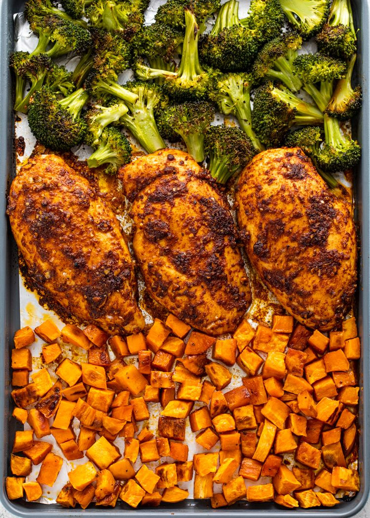 Sheet Pan Roasted Chicken Sweet Potatoes Broccoli Meal Prep In 2020 Healthy Meal Prep Chicken Meal Prep Health Dinner Recipes