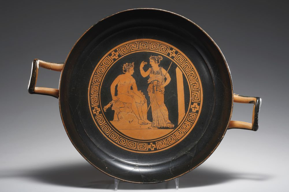 A Red-figure Cup (Type E), Attributed to the Painter of the New York Centauromachy D. 23.8 cm. Clay Attic, ca. 400 B.C.