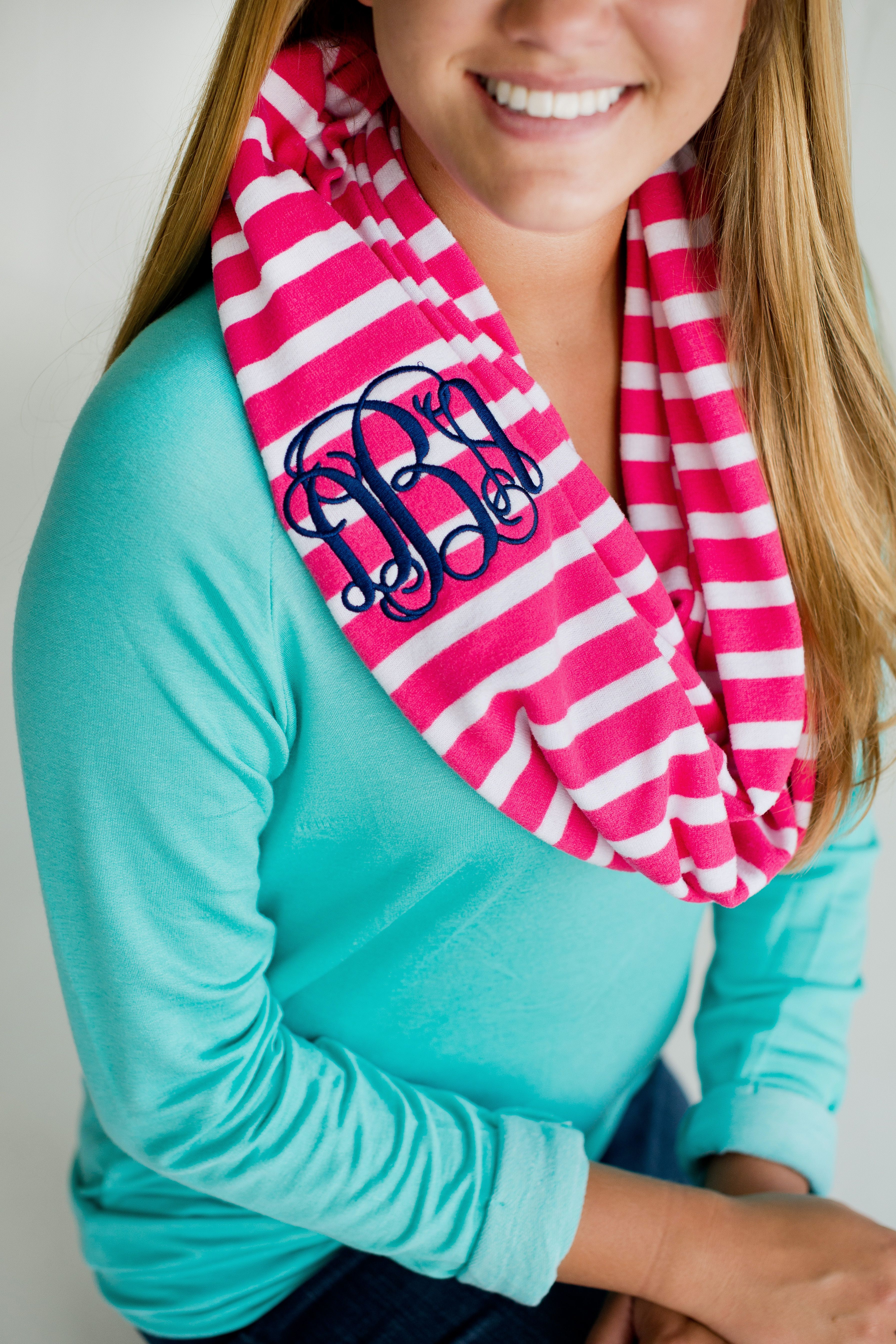 Personalized and Monogrammed Pink and White Striped Infinity Scarves