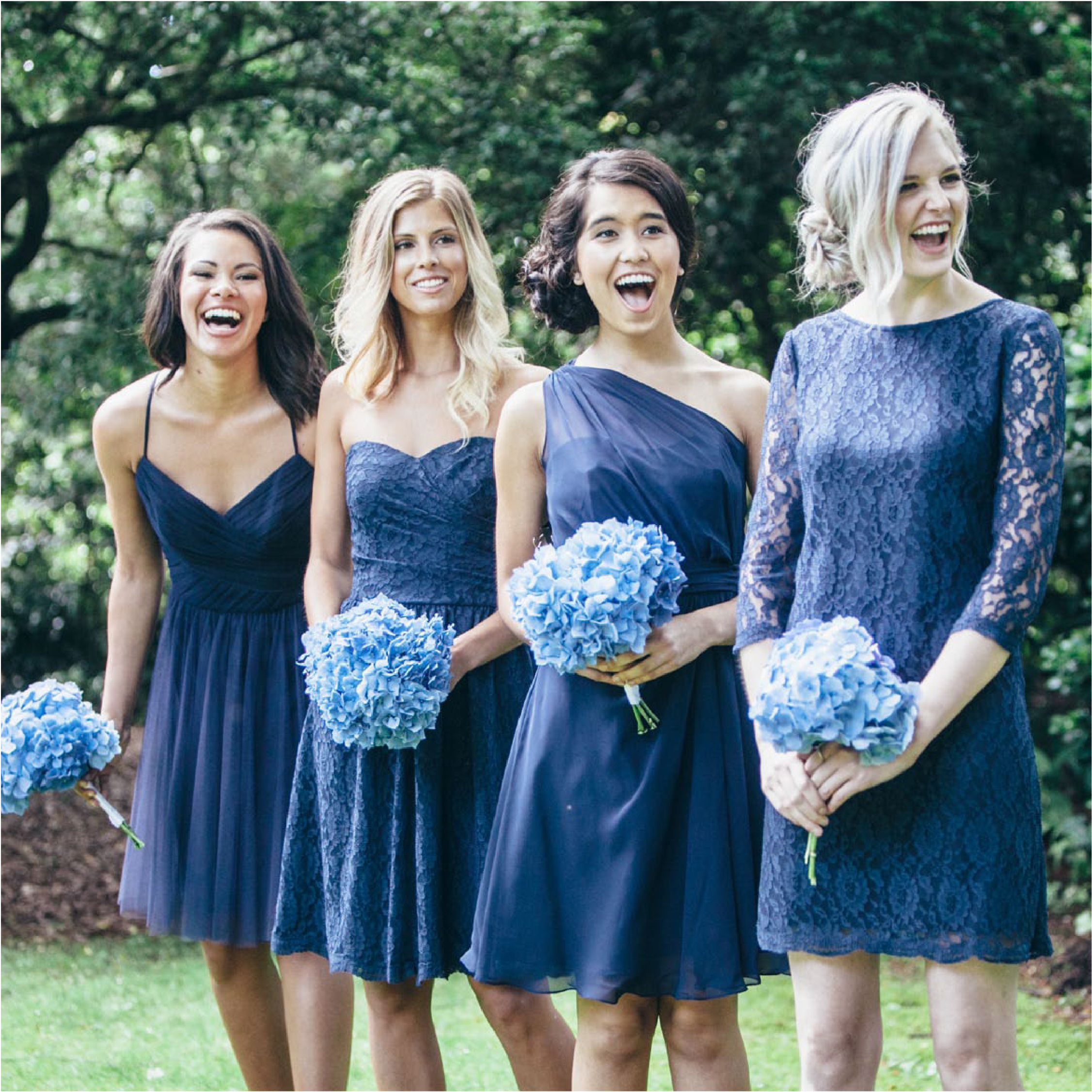 Navy blue broidesmaids dresses in a range of fabrics by david lace blue dresses for bridesmaids in four different necklines ombrellifo Choice Image