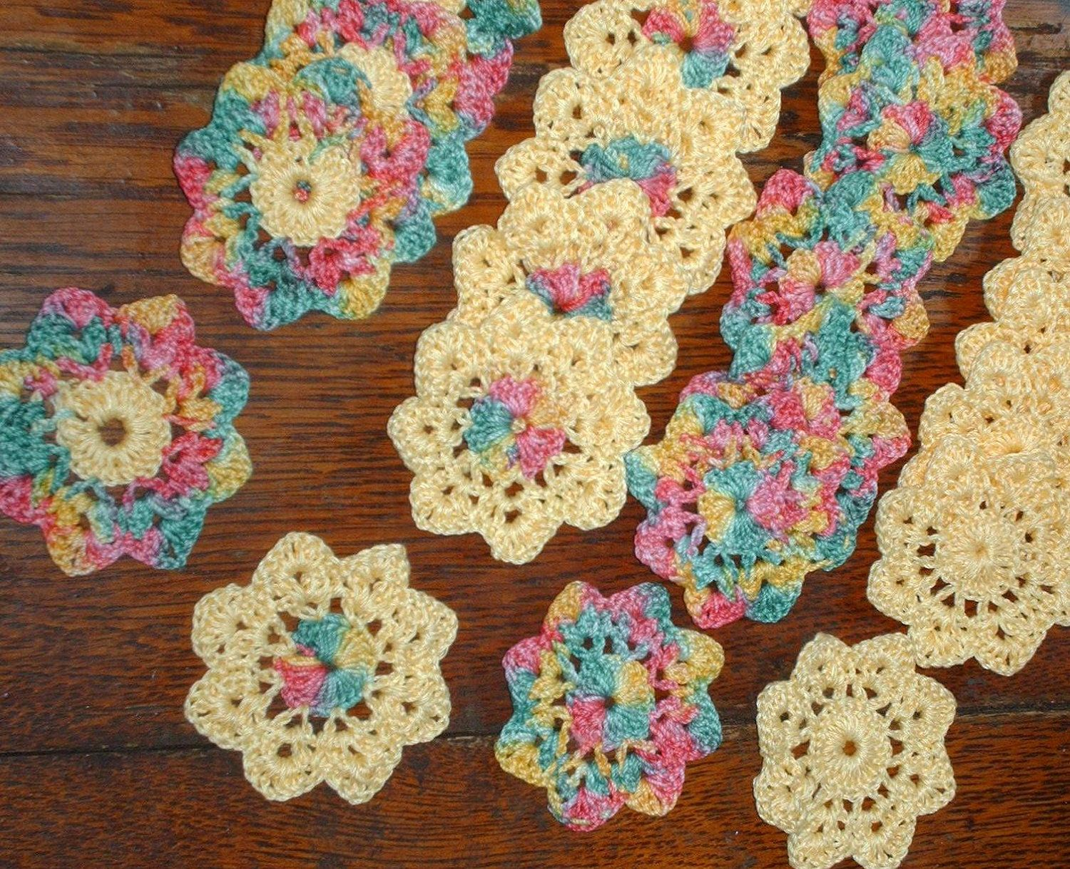 Flower appliques rainbow and yellow