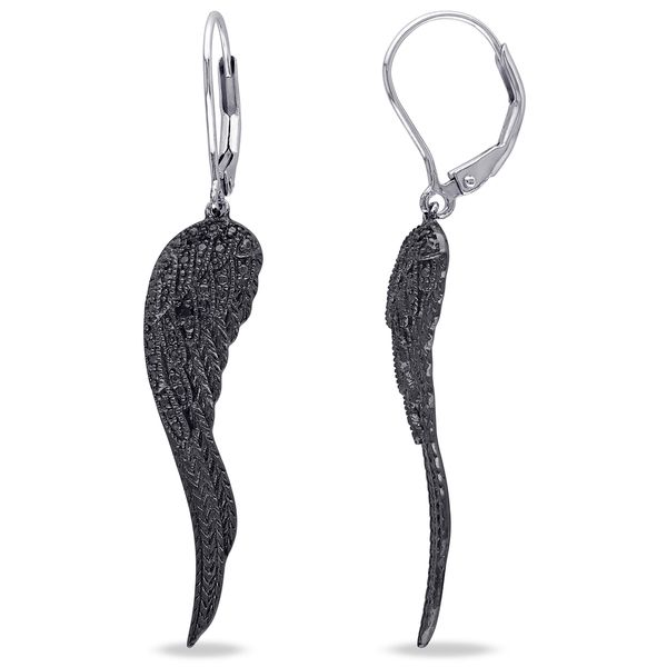 Haylee Jewels Sterling Silver Black Diamond Accent Leaf Earrings - Overstock Shopping - Top Rated Haylee Jewels Diamond Earrings