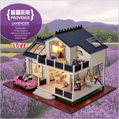 diy wooden dolls house miniature kit w led light dollhouse. Black Bedroom Furniture Sets. Home Design Ideas